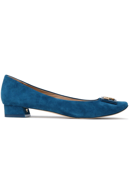 b7f6f836f08d Tory Burch Woman Embellished Suede Pumps Cobalt Blue in Blue - Lyst