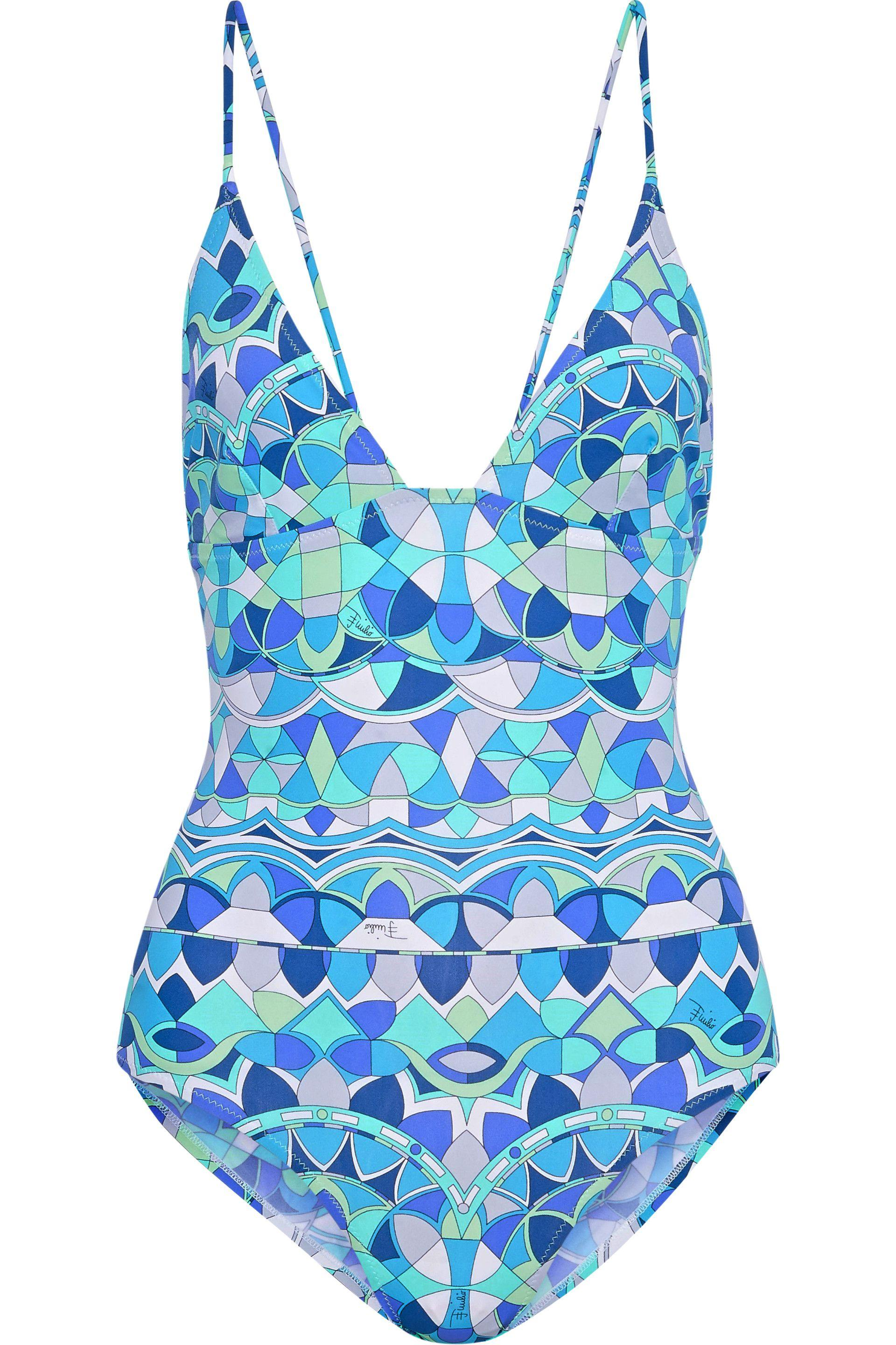 9455b4ebd57 Emilio Pucci. Women's Blue Woman Ring-embellished Printed Swimsuit Turquoise