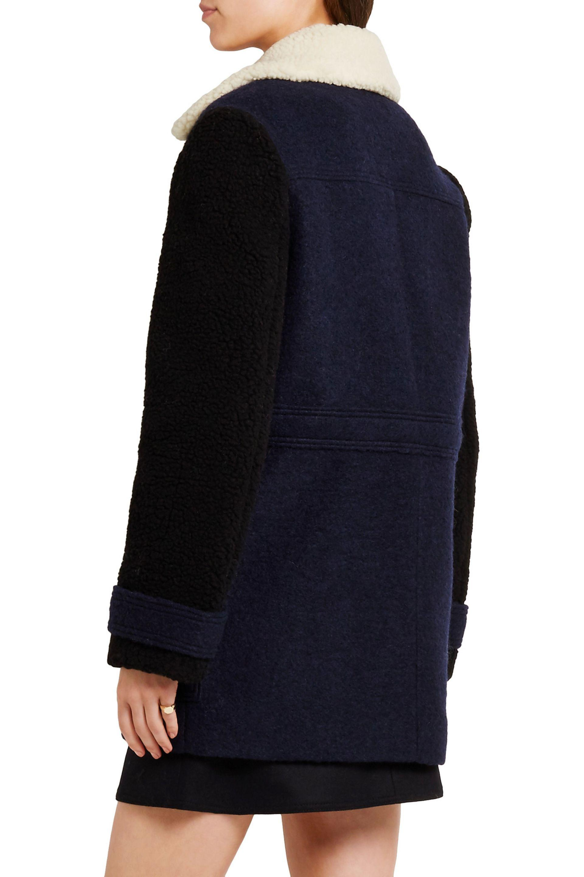 d12875714ad Carven Faux Shearling-trimmed Wool-blend Felt Coat in Blue - Lyst
