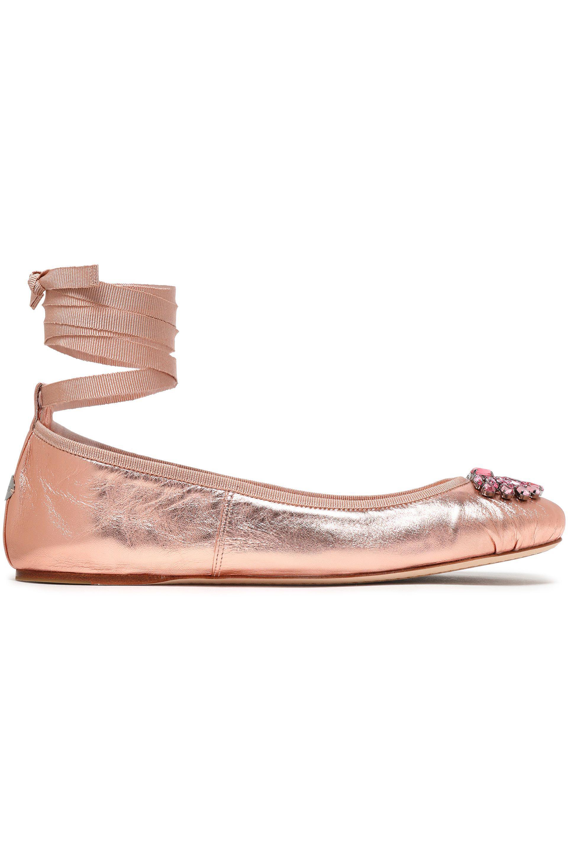 923d2b2edd1 ... netherlands jimmy choo. womens pink crystal embellished metallic leather  ballet flats c48a4 34242