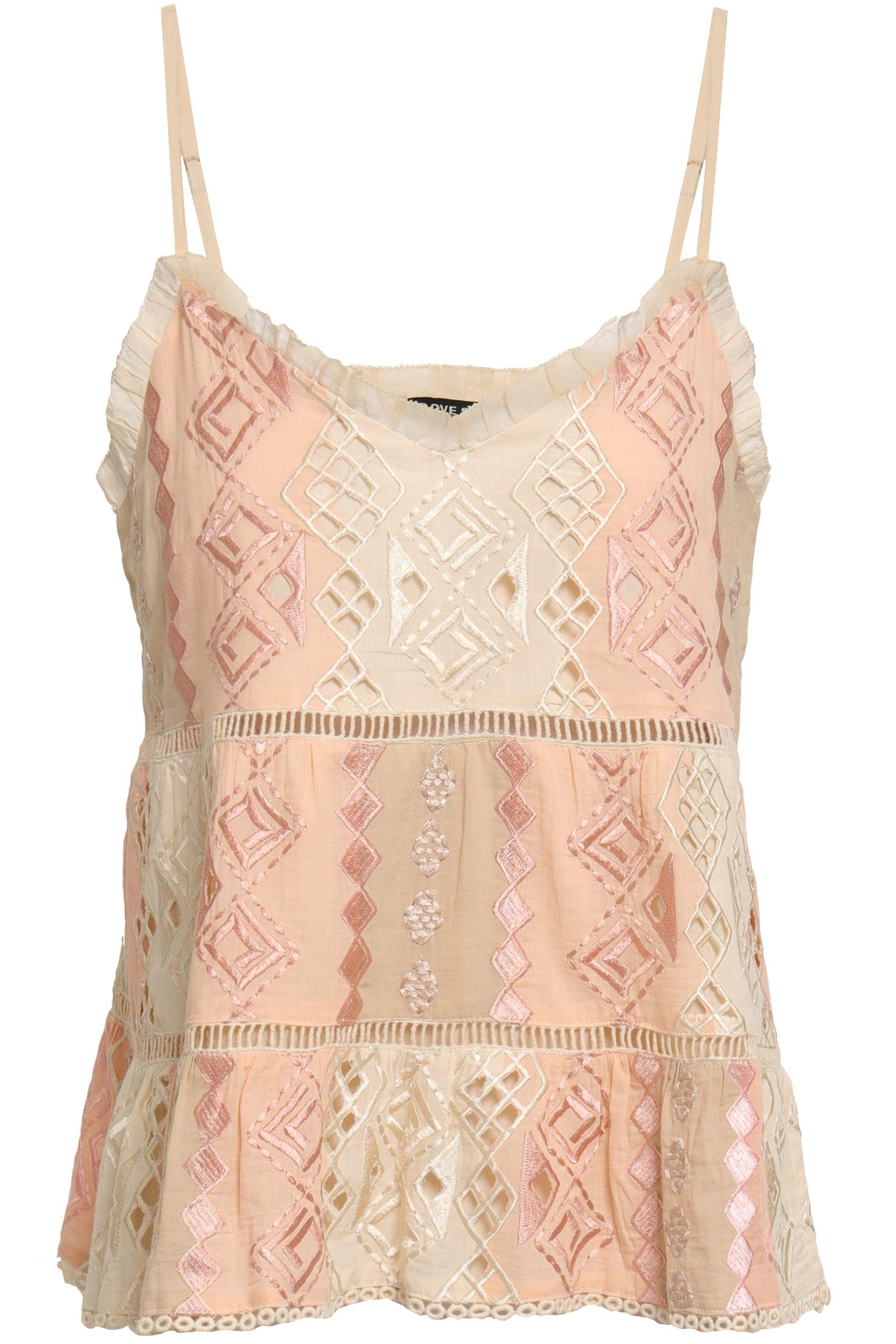 5b56ccd6350 Love Sam Woman Lattice-trimmed Embroidered Cotton-gauze Camisole ...