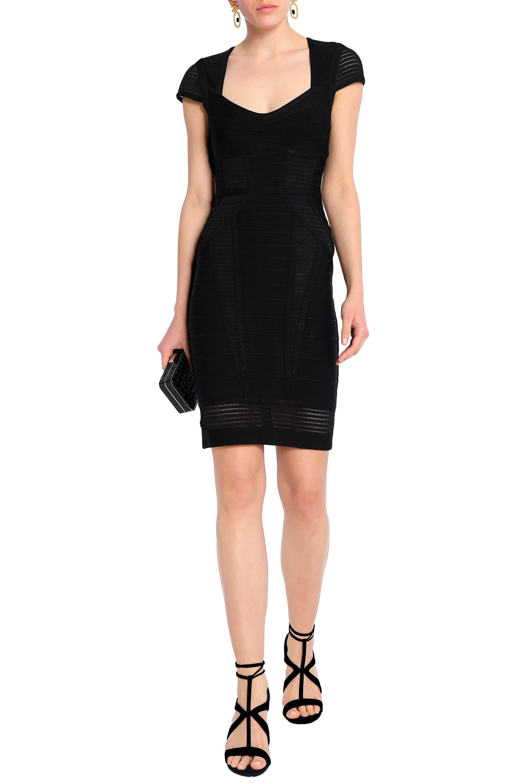 2f442d9d511 Hervé Léger Elena Mesh-paneled Bandage Dress in Black - Lyst