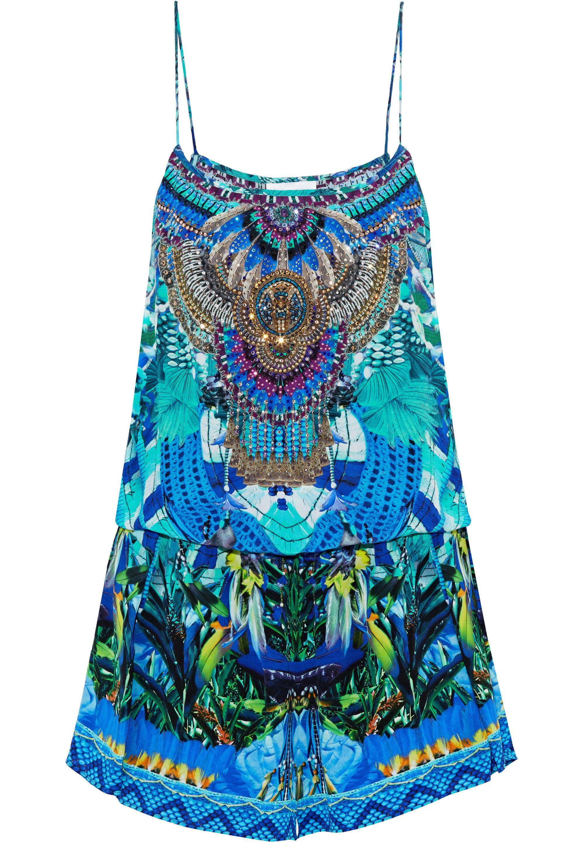 09203aacad3 Camilla. Women s Blue Woman Masking Madness Embellished Printed Silk  Playsuit Turquoise