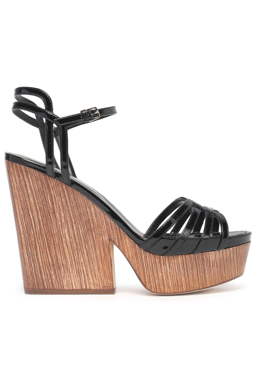 Platform sandals smooth leather suede beige white Sergio Rossi VC3Ag27v5