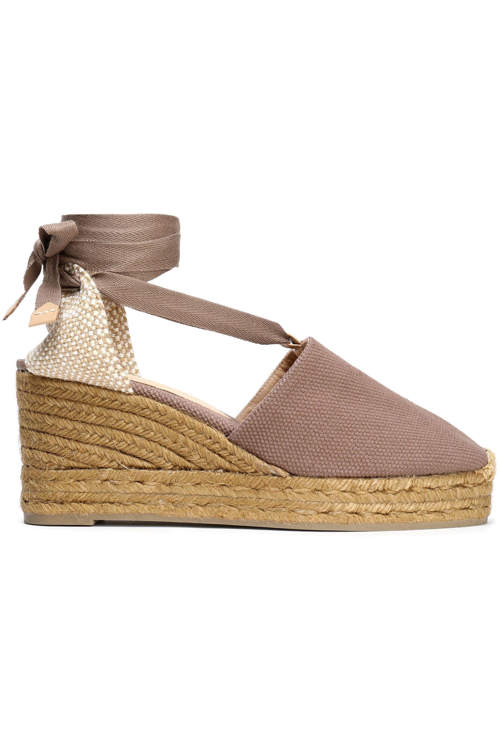 7535aa75d94 Castaner Castañer Woman Woven And Canvas Wedge Espadrilles Taupe in ...