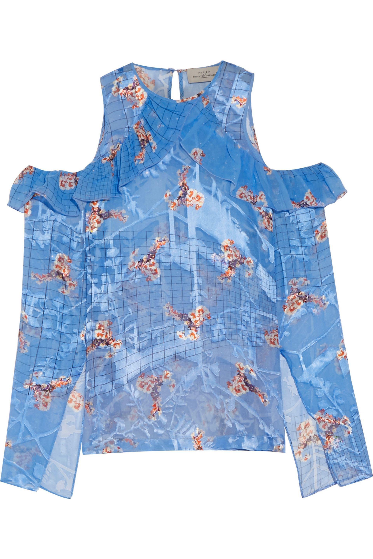 Preen By Thornton Bregazzi Woman Zacharia Cutout Printed Silk-georgette Blouse Bright Blue Size S Preen Buy Cheap Marketable Visit yIKrh