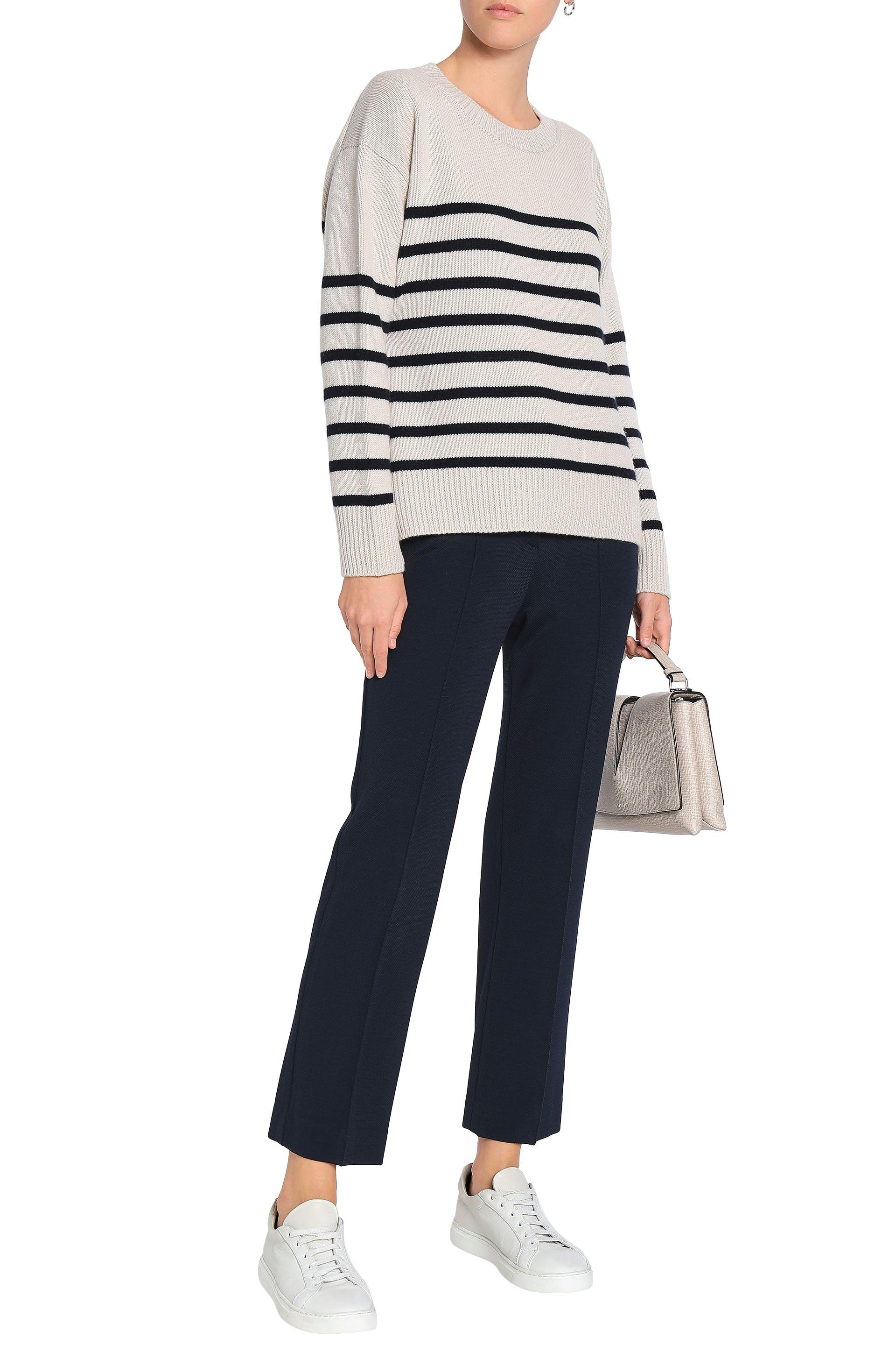 ad9ba6c6ad8 Vince Woman Tie-back Striped Cashmere Sweater Neutral - Lyst