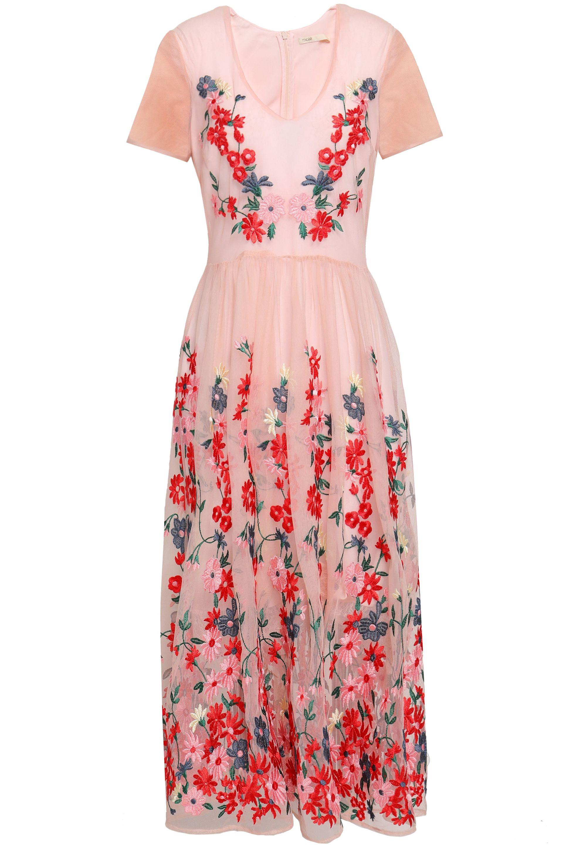 692816c9de Maje Embroidered Tulle Midi Dress Baby Pink in Pink - Lyst