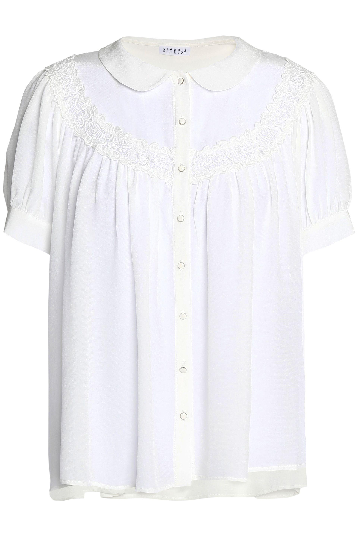 Release Dates Authentic For Sale Official Site Claudie Pierlot Woman Ruffle-trimmed Cotton-poplin Top White Size 40 Claudie Pierlot Clearance Ebay knopWFK