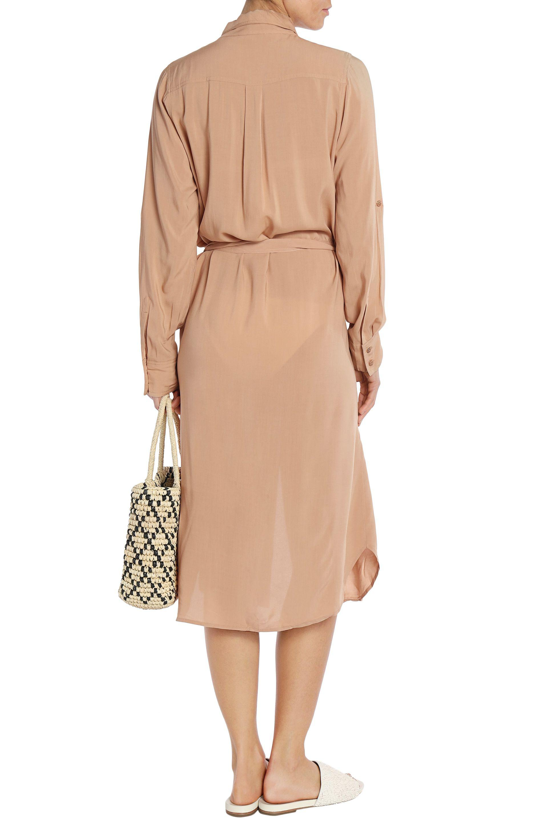 Melissa Odabash Woman Maryanne Belted Brushed-jersey Midi Shirt Dress Beige Size L Melissa Odabash Looking For Cheap Price Clearance Cheap Pre Order Factory Outlet Cheap Online lYzuVa1