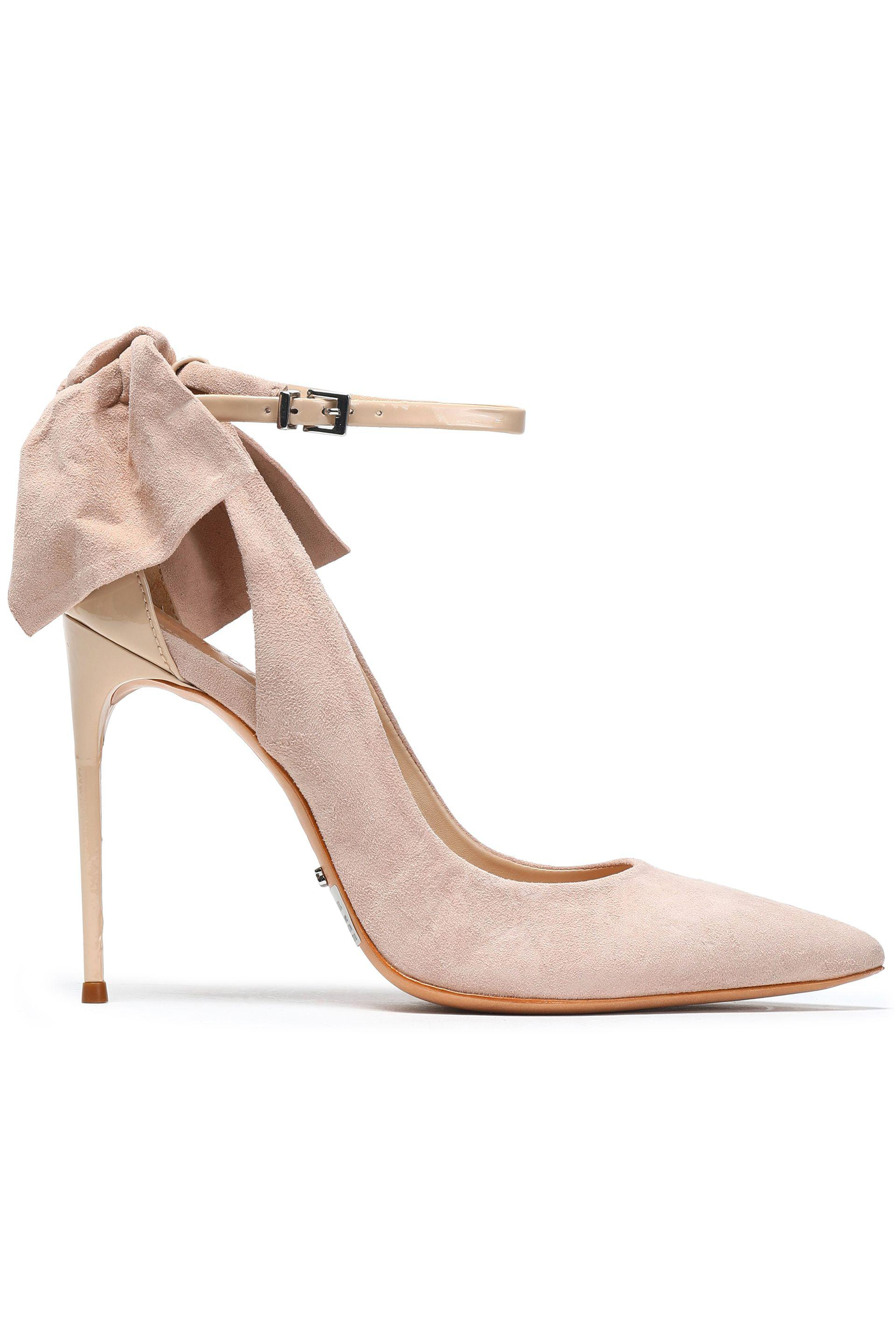 11b28e4ea98 Lyst - Schutz Bow-embellished Leather-trimmed Suede Pumps