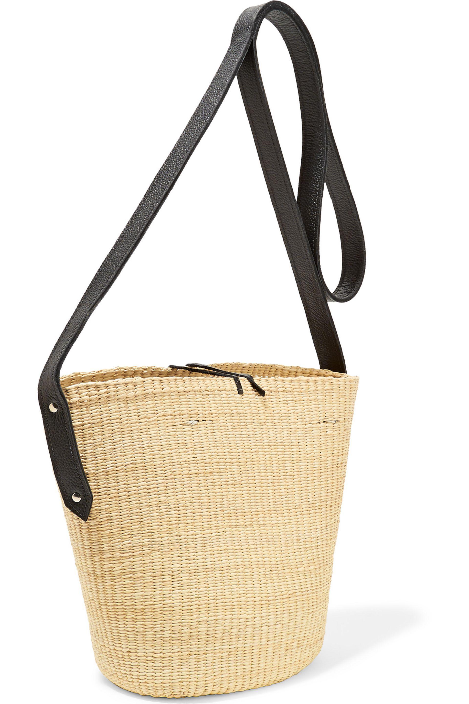 Leather-trimmed toquilla-straw basket bag Sensi Studio DWY3o2