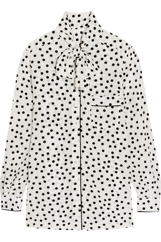 4c3ca8d7 Lyst - Dolce & Gabbana Pussy-bow Polka-dot Silk Crepe De Chine ...