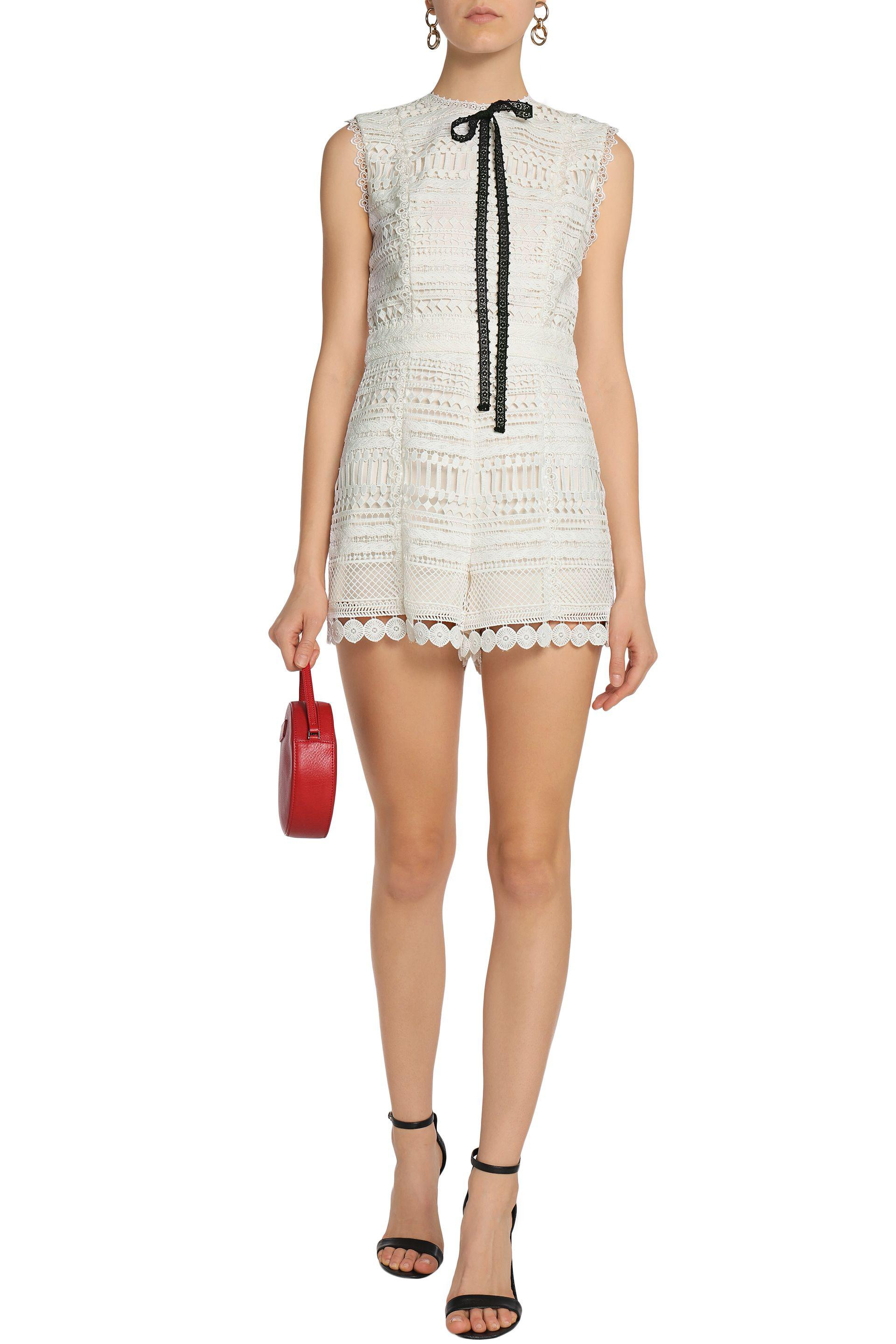 2a91588084e Alexis Macramé Playsuit in White - Lyst