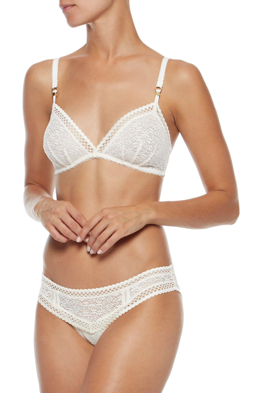 feb71dfa9cf6d Lyst - Stella Mccartney Woman Lace Low-rise Briefs Ecru Size L in White