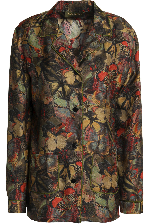 Printed Silk Shirt - Army green Valentino Cheap Price Pre Order kZsNUlKTuP
