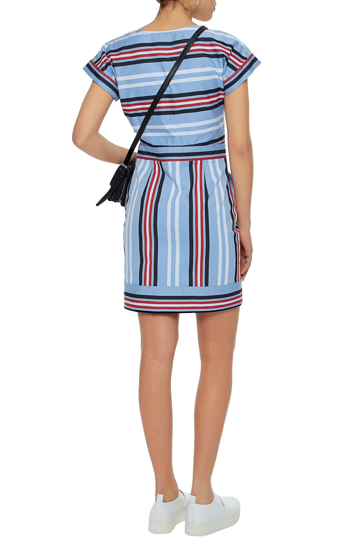 62d25386447d3 Lyst - Love Moschino Striped Cotton-blend Twill Mini Dress Sky Blue ...