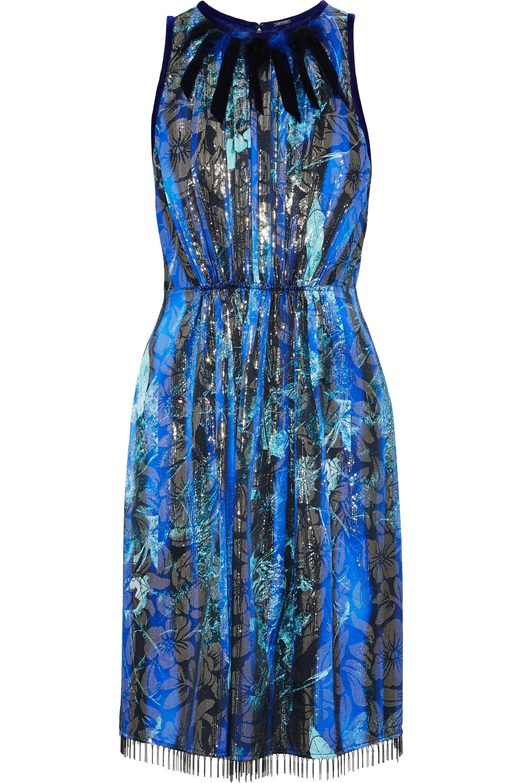 0db031cad48d Elie Tahari Demetria Metallic Floral Print Dress in Blue - Lyst