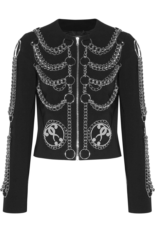 Moschino. Women's Black Embellished Crepe Jacket