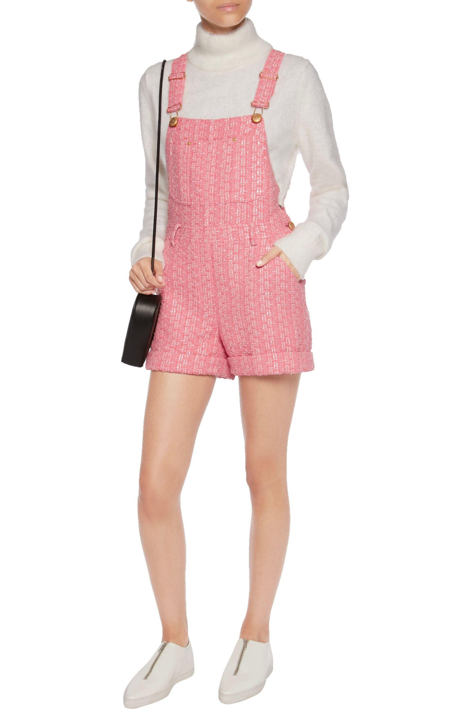 4bb8f17f34 Moschino Tweed Playsuit in Pink - Lyst