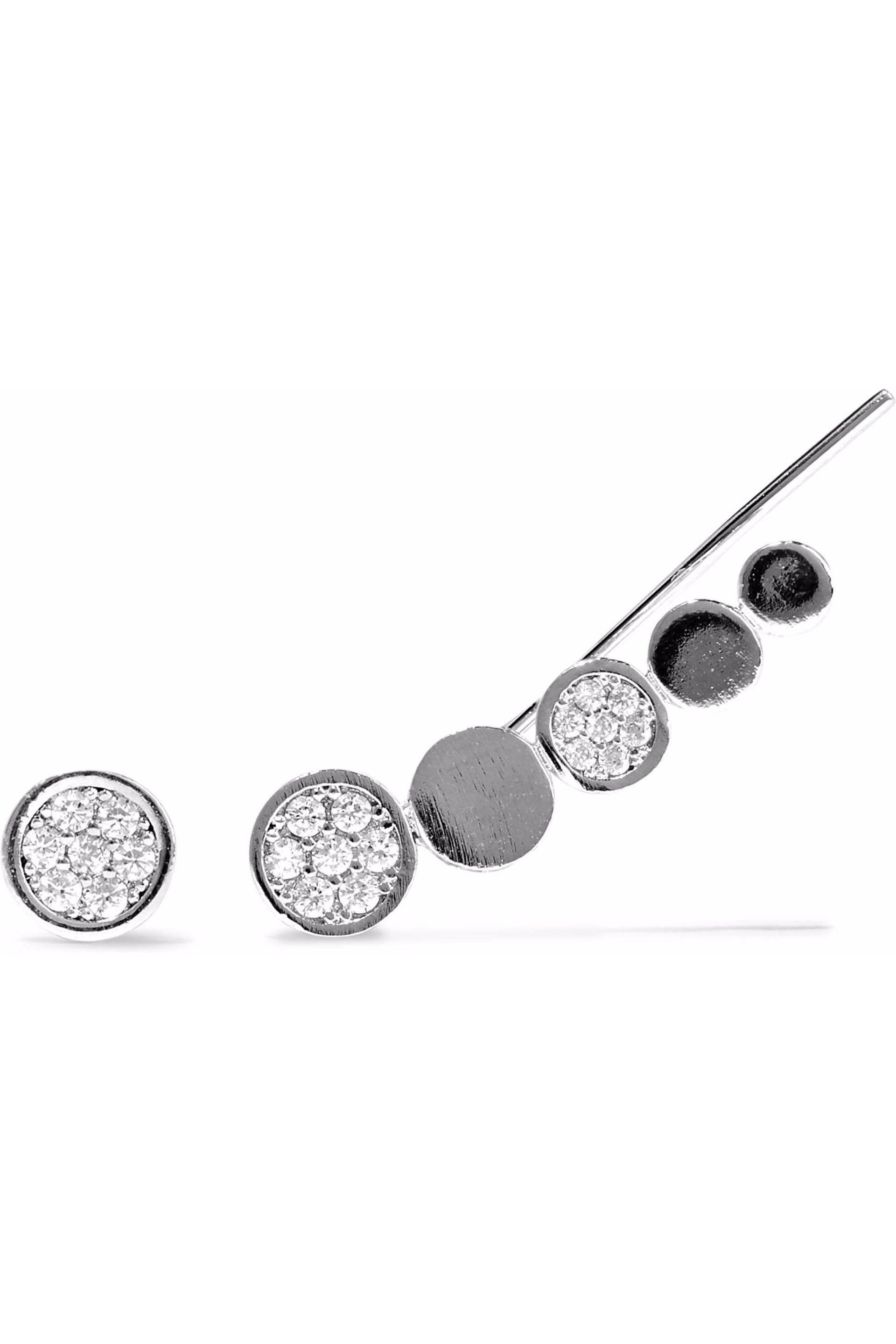 Astrid & Miyu Astrid & Miyu Woman Fitzgerald Rhodium-plated Crystal Earrings Silver Size B39kk