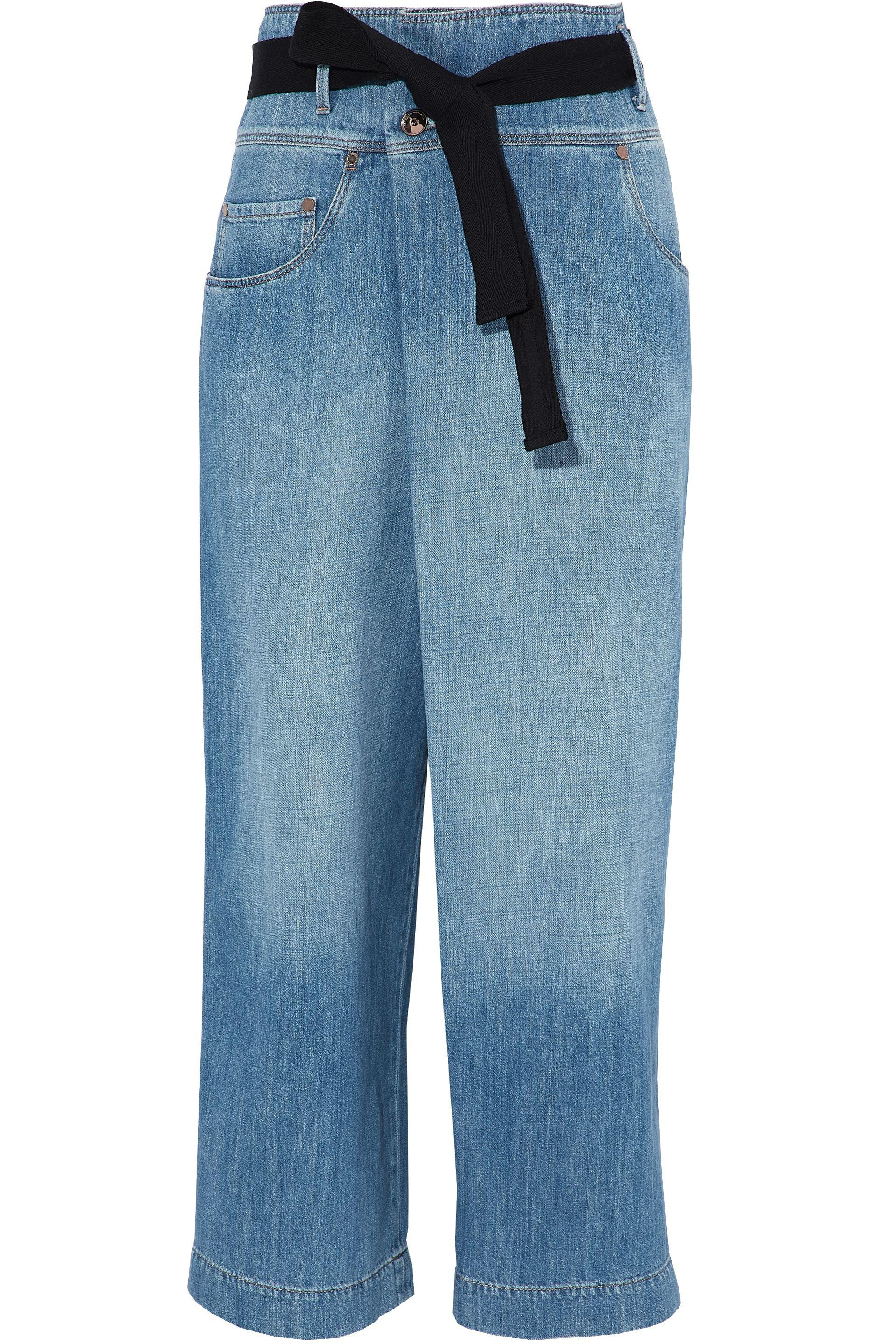 8040ac592ba Lyst - Brunello Cucinelli Belted Faded High-rise Wide-leg Jeans Mid ...