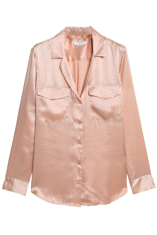 16719d774b2ee Equipment - Multicolor Woman Ansley Polka-dot Silk-satin Shirt Blush -  Lyst. View fullscreen
