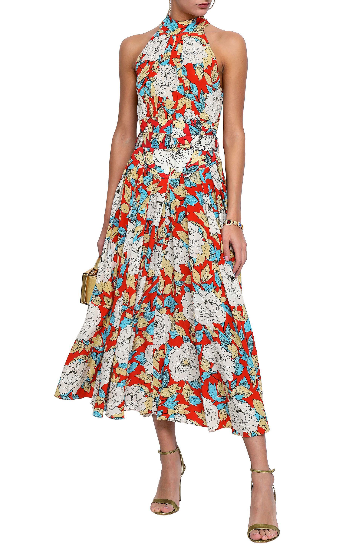 87bbef1f7087 Diane von Furstenberg - Red Floral-print Silk-twill Halterneck Midi Dress -  Lyst. View fullscreen