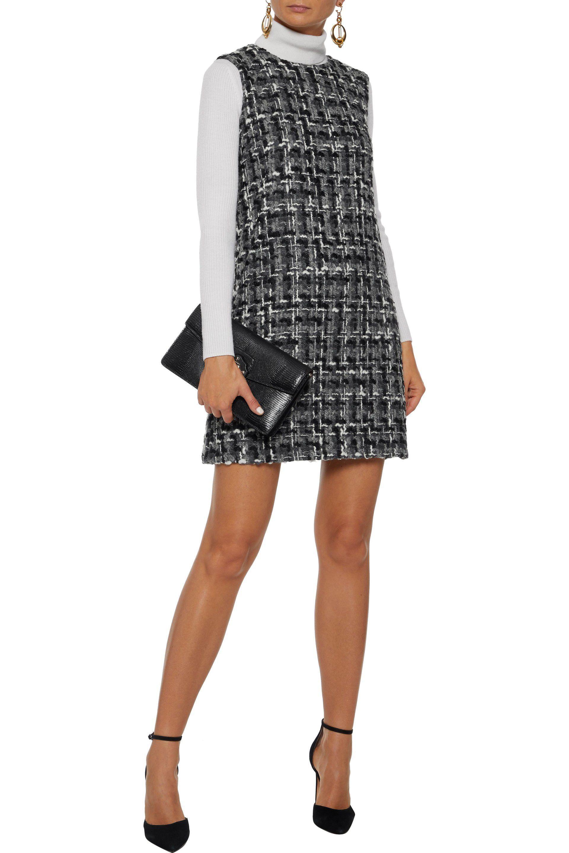 6c2d9d71550407 Lyst - Dolce   Gabbana Woman Wool-blend Bouclé-tweed Mini Dress Gray ...