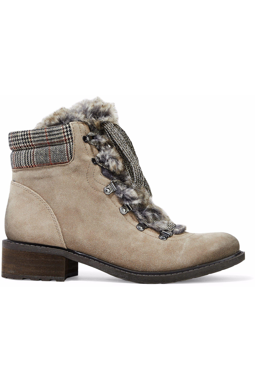 633ad14f3fd7 Sam Edelman. Women s Woman Darrah Faux Fur-trimmed Suede Ankle Boots  Mushroom
