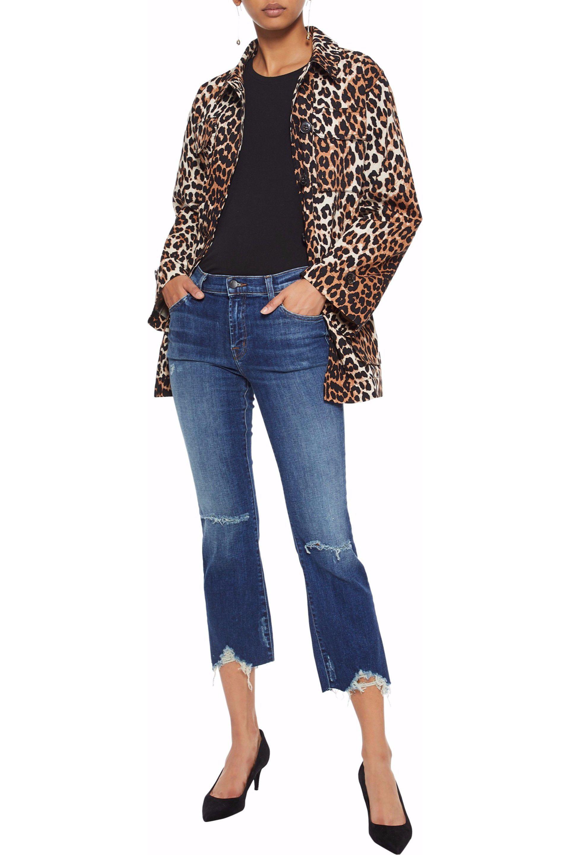 3fcbe65ed4c63 J Brand - Blue Selena Cropped Distressed Mid-rise Bootcut Jeans - Lyst.  View fullscreen
