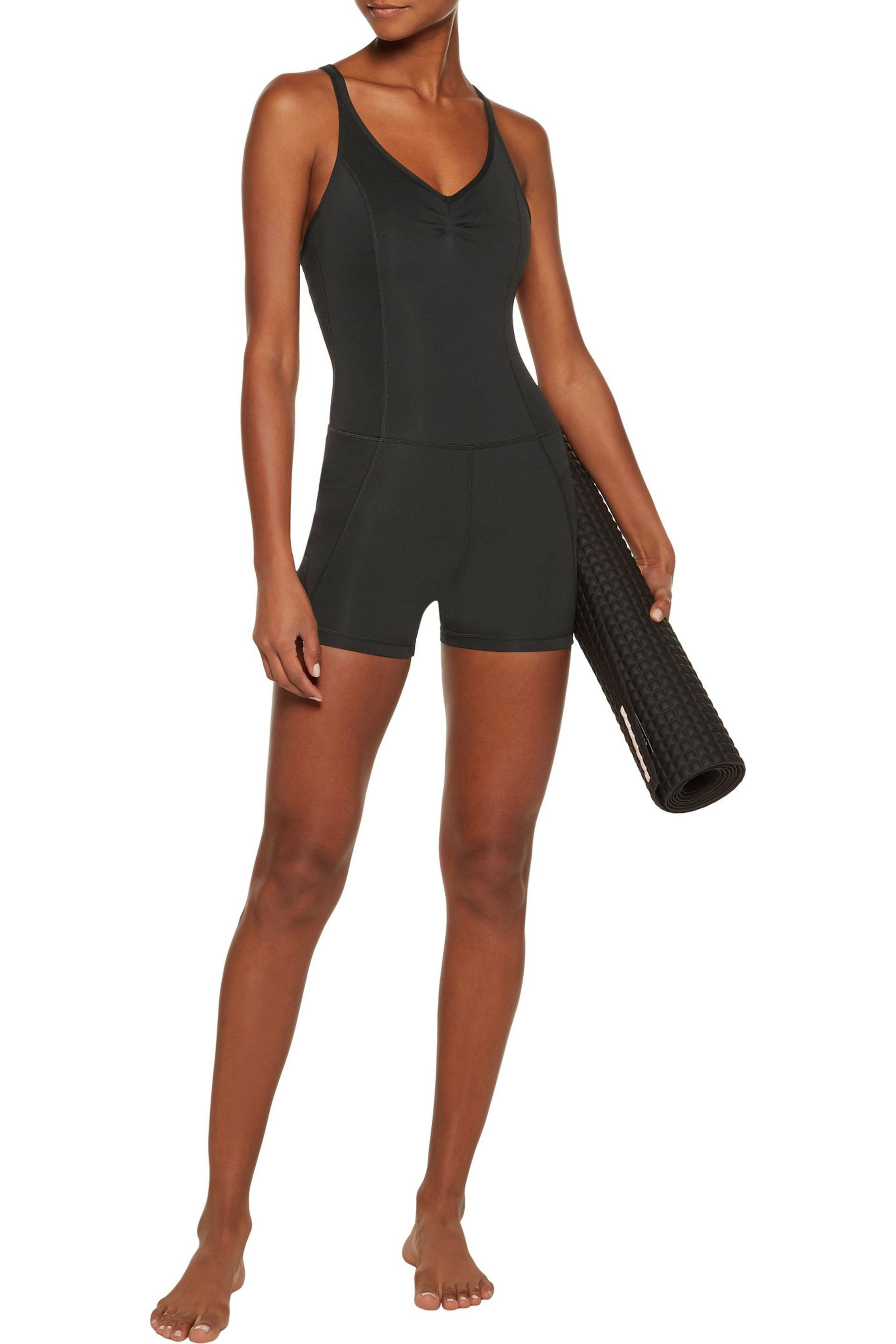 Purity Active   Black Cropped Mesh-paneled Stretch Unitard   Lyst. View  Fullscreen