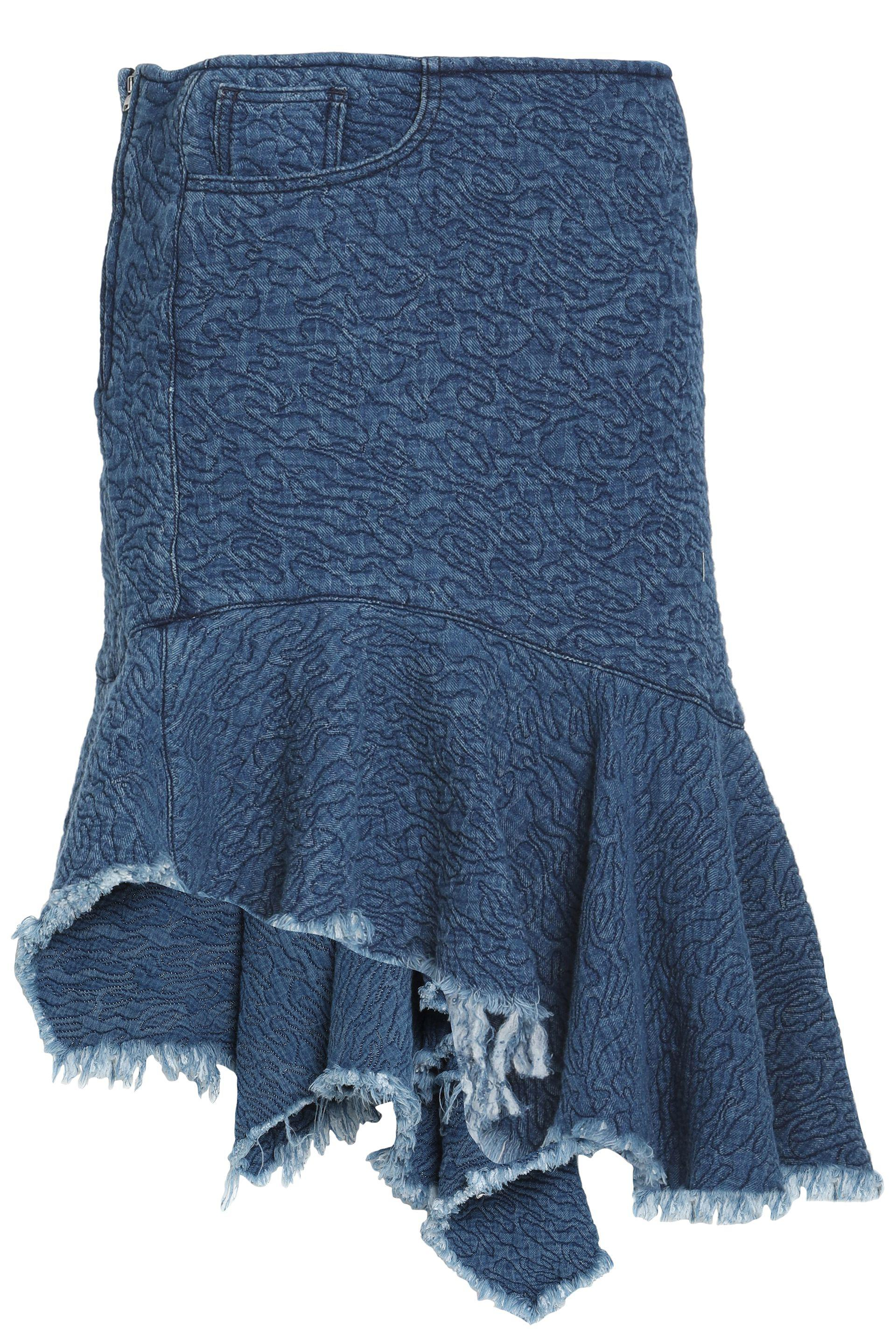 Marques'Almeida. Women's Blue Frayed Asymmetric Denim Skirt Mid Denim