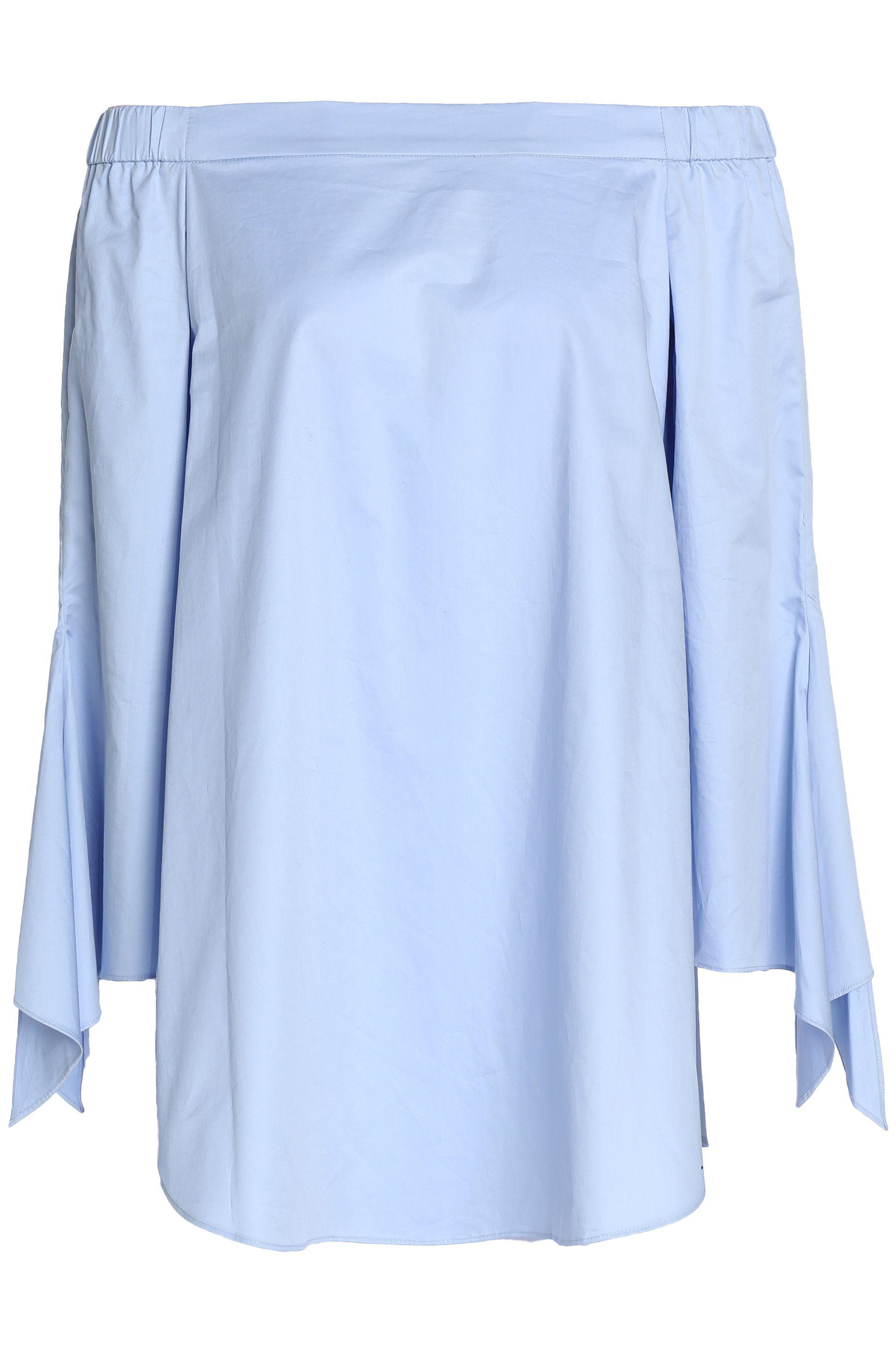 Tibi Woman Off-the-shoulder Striped Cotton-poplin Top Light Blue Size 4 Tibi Discount Cheap Online Clearance Low Cost Nk5qr