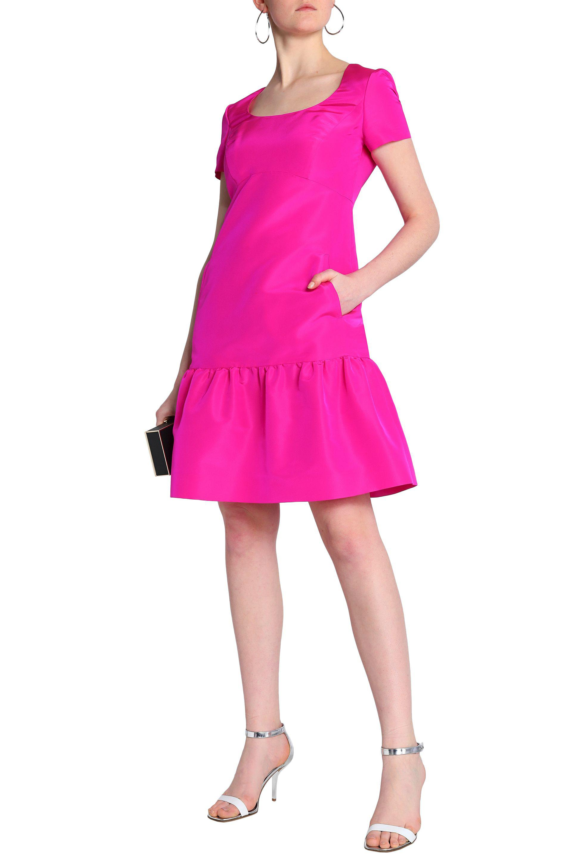 Oscar De La Renta Woman Fluted Neon Silk Dress Fuchsia Size 4 Oscar De La Renta 0HgRO