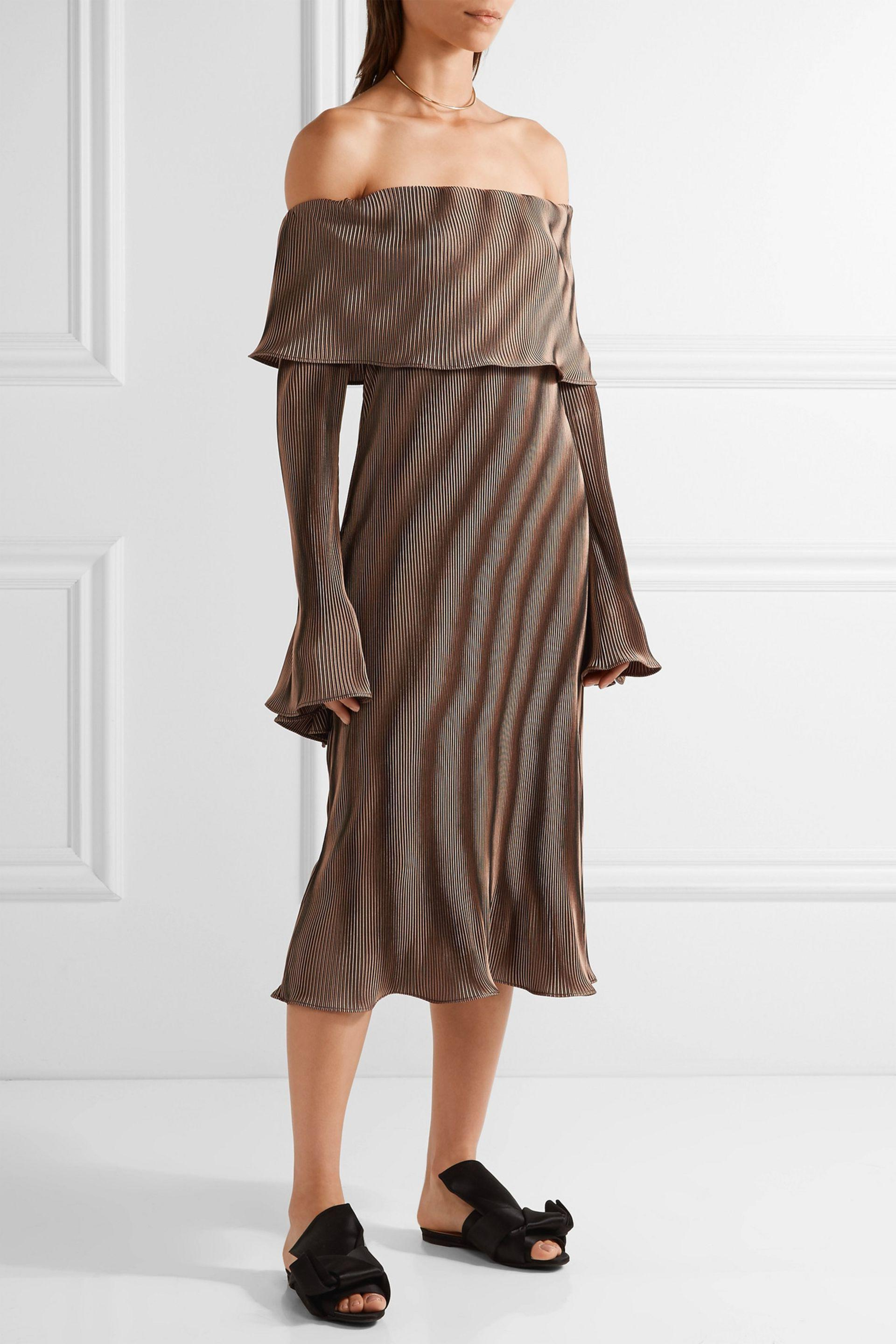 78c07b70ea4b Lyst - Beaufille Andura Off-the-shoulder Ribbed-knit Midi Dress in Brown