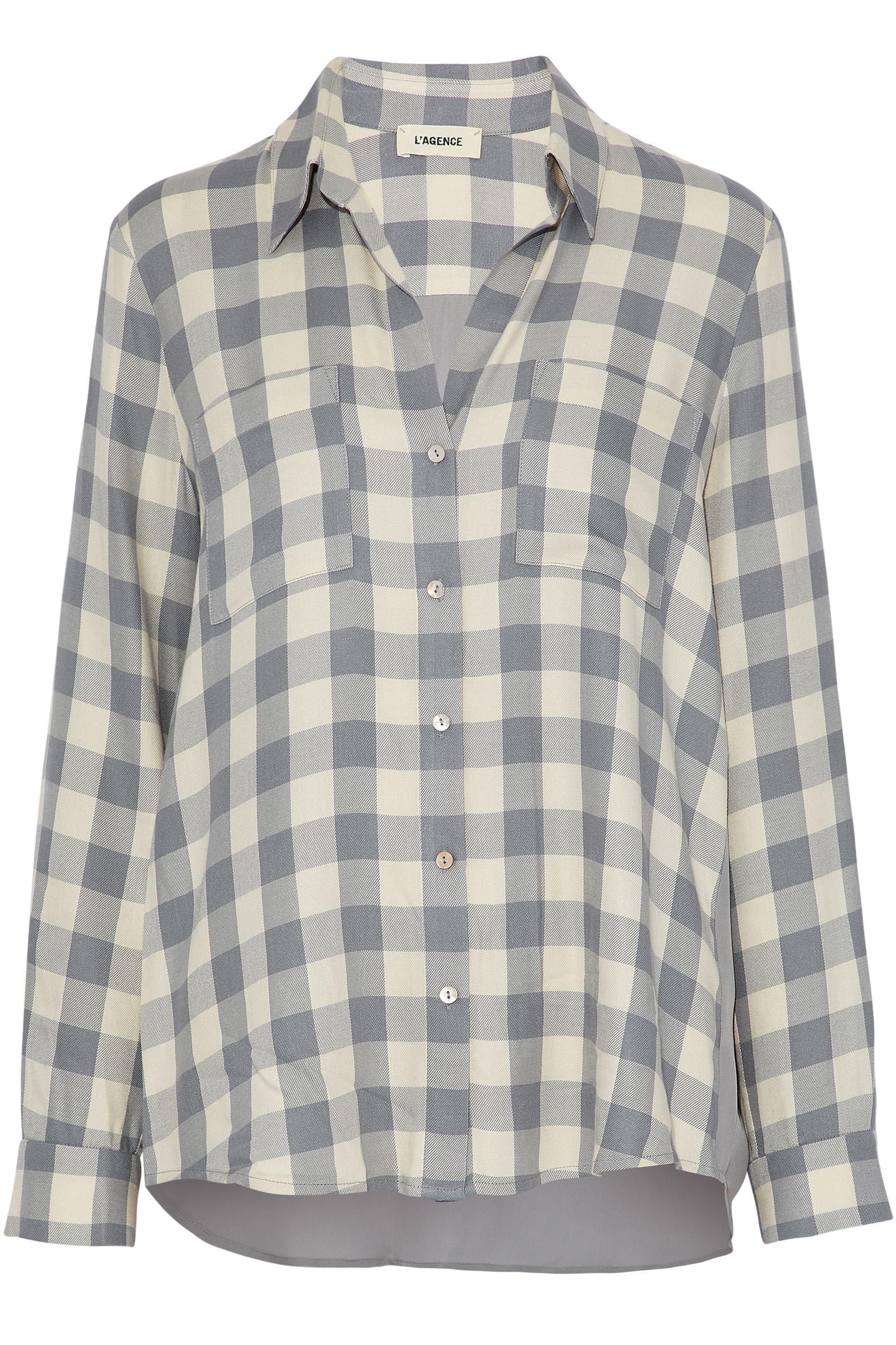 Lagence Woman Silk Crepe De Chine-paneled Gingham Flannel Shirt Light Gray Size L L'agence Many Kinds Of Cheap Online Fake Sale Online Buy Cheap For Cheap Discount 2018 New Nu9CPzqvNn