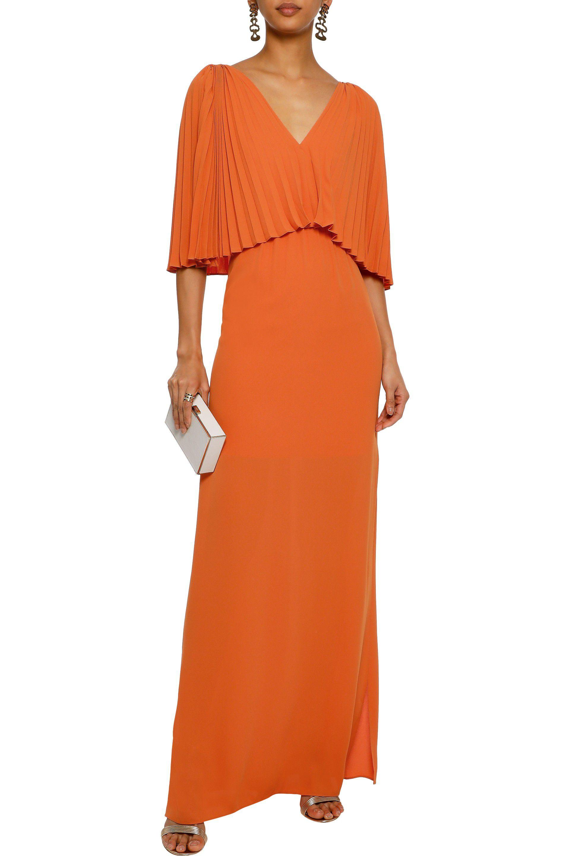 474cf65239a Halston Heritage - Woman Layered Pleated Crepe De Chine Maxi Dress Orange -  Lyst. View fullscreen