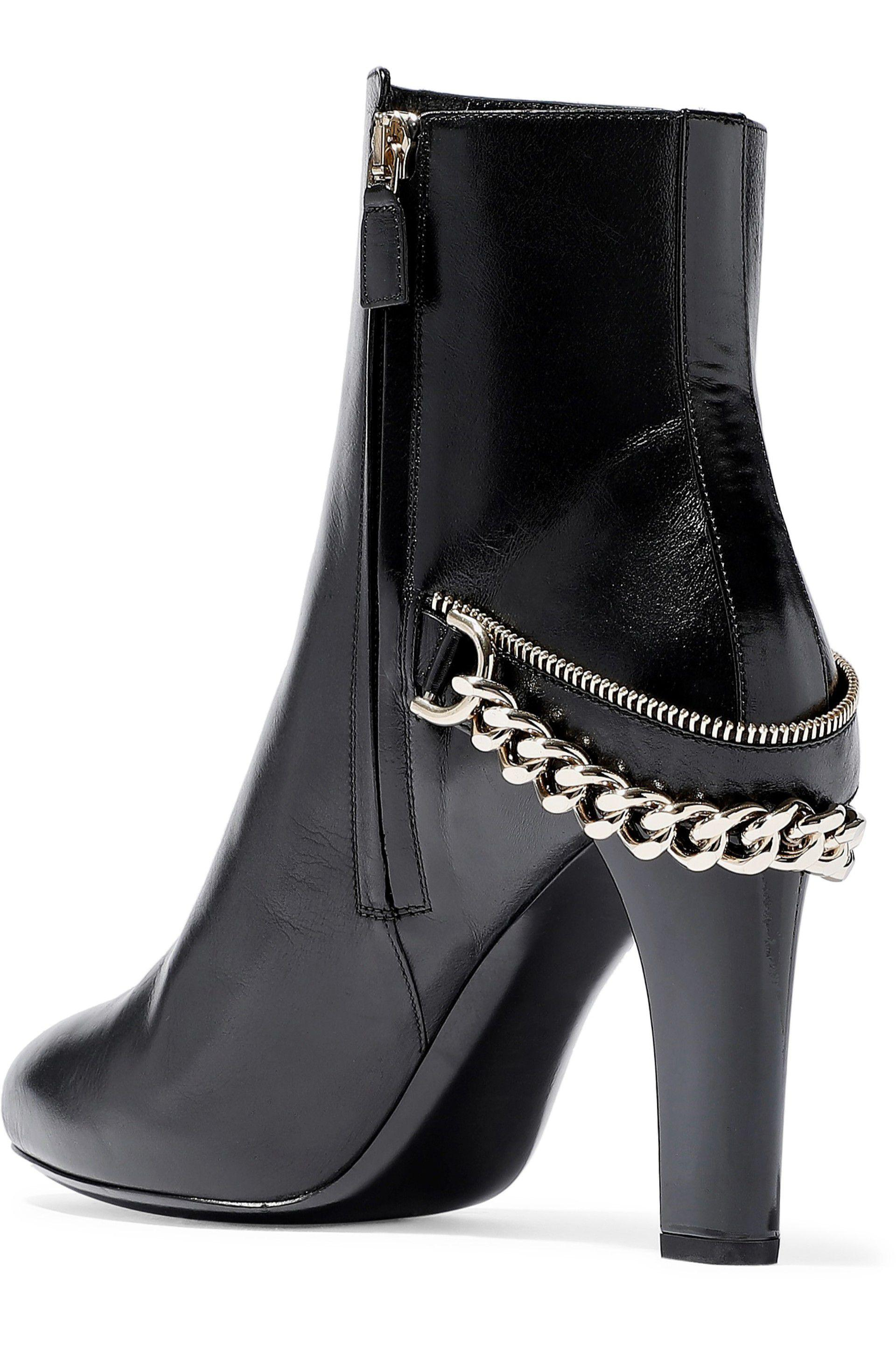 3ed369ef24e Lyst - Lanvin Woman Chain-trimmed Leather Ankle Boots Black in Black