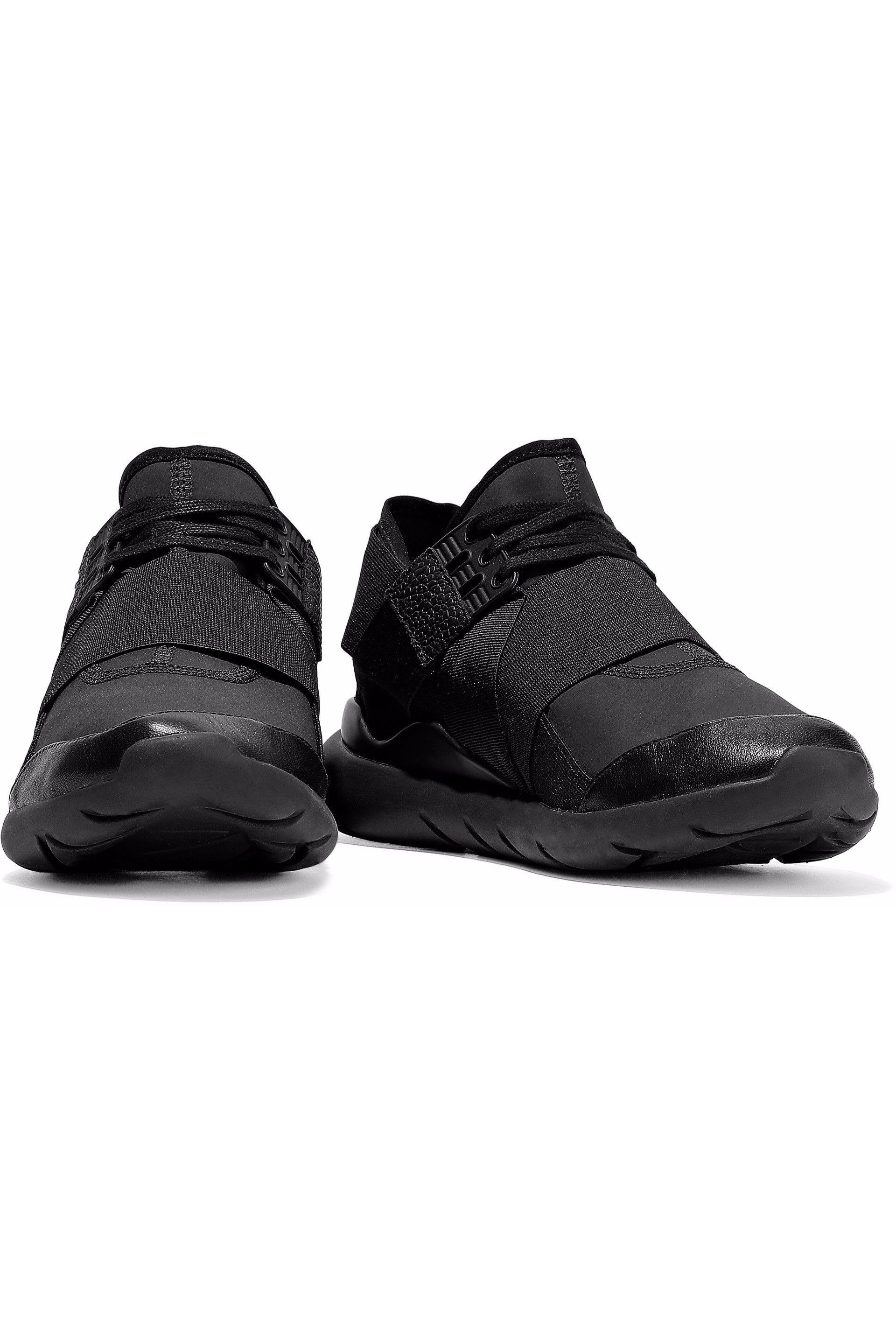 65ebba5be9298 Lyst - Y-3 +adidas Originals Qasa Elle Lace Leather-trimmed Neoprene ...