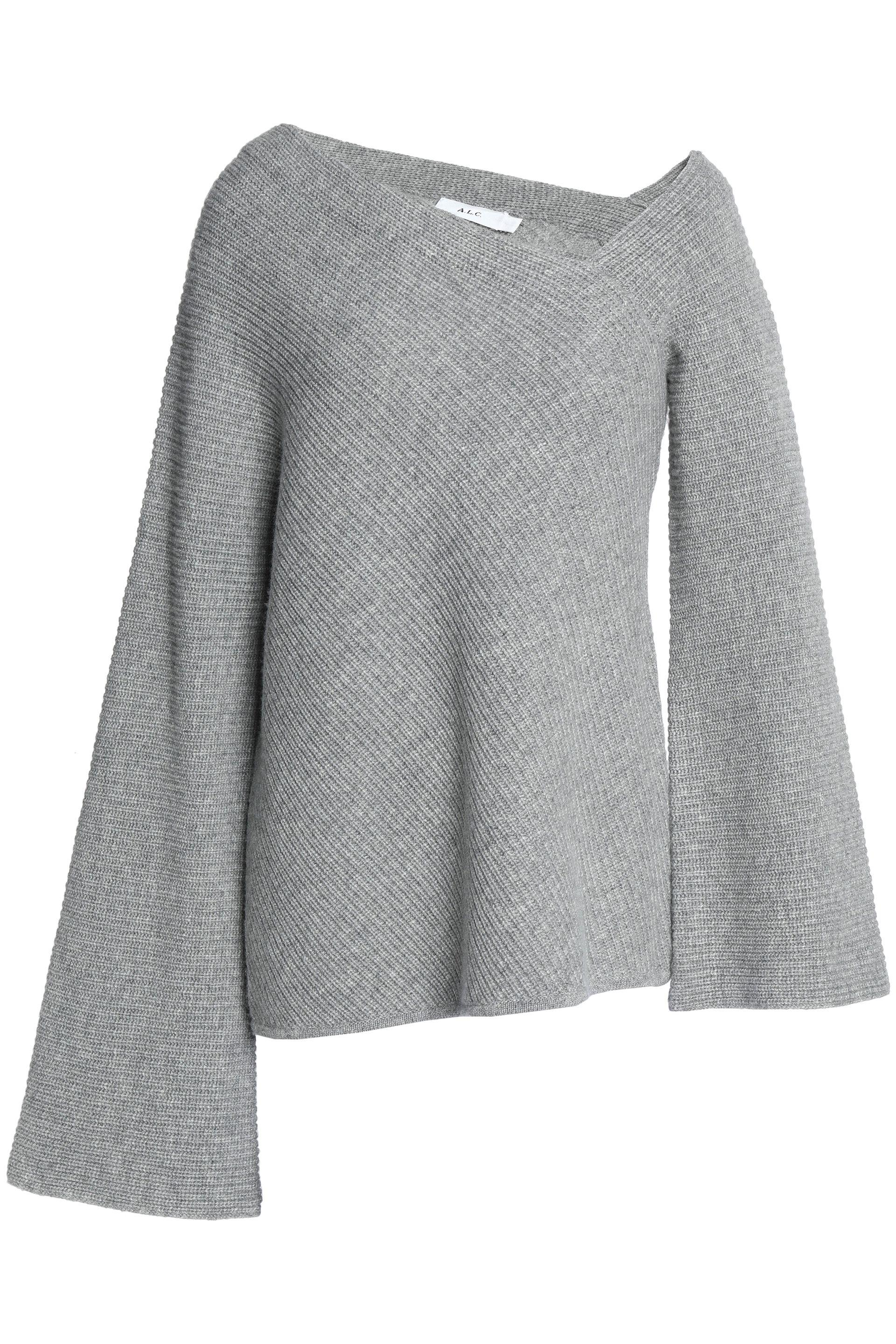 Nicekicks Authentic Cheap Price A.l.c. Woman Asymmetric Ribbed Wool And Cashmere-blend Sweater Gray Size L A.L.C. Dlcc5sV8