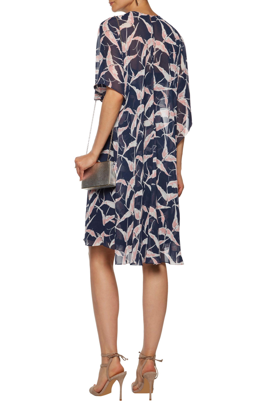 Mikael Aghal | Layered Printed Chiffon Dress Midnight Blue | Lyst. View  Fullscreen