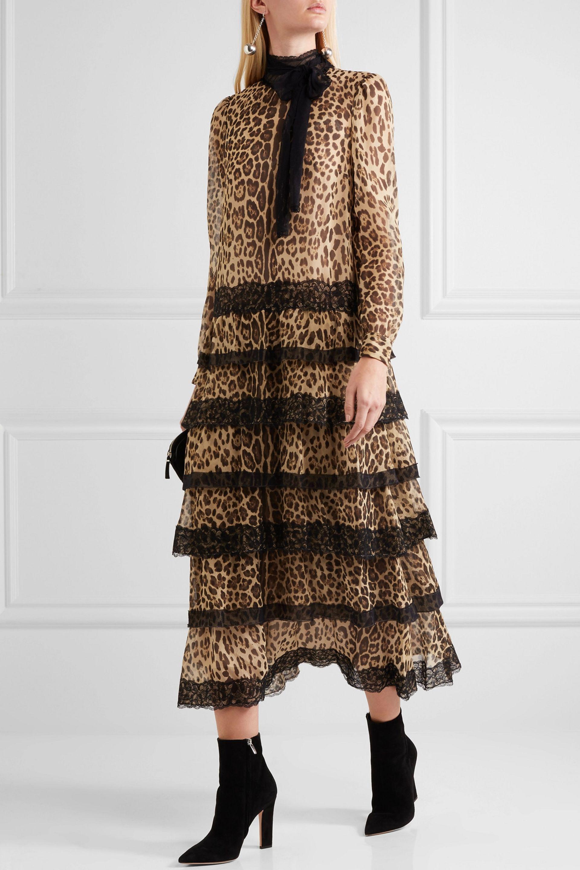 5917d3ac286f RED Valentino Lace-trimmed Leopard-print Silk-crepon Midi Dress in ...