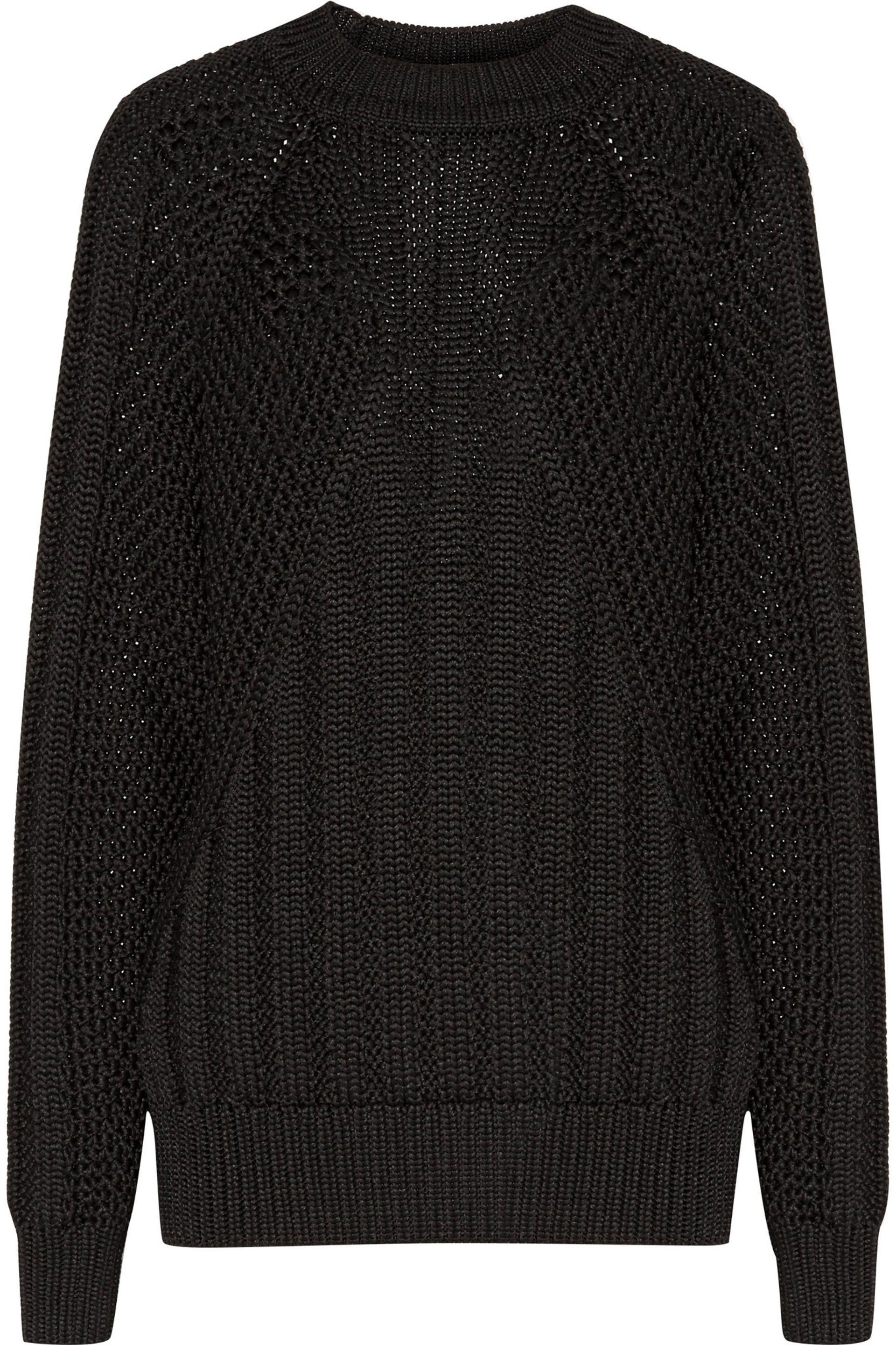 Balmain Cable-knit Sweater in Black | Lyst