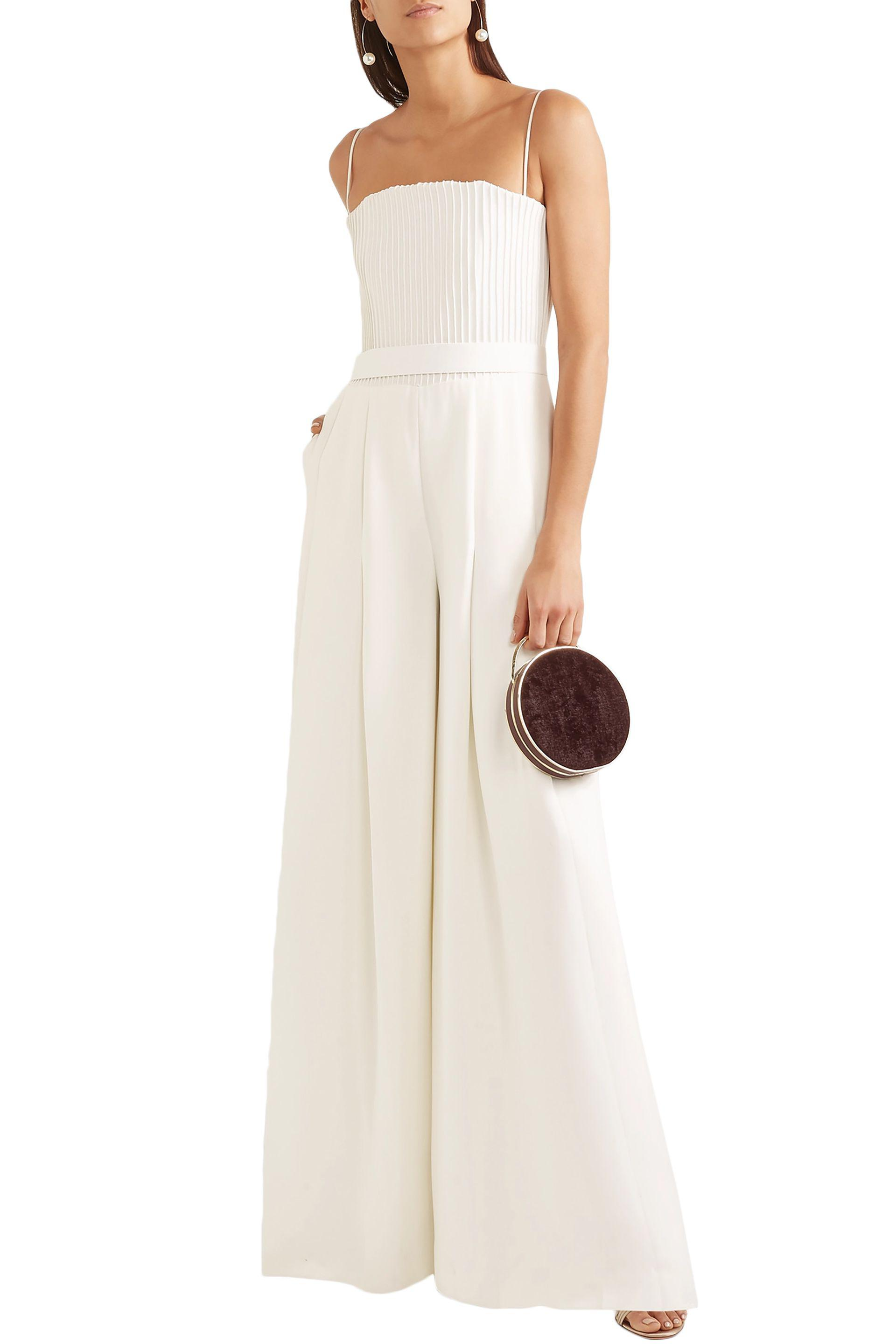 73be7459cde Brandon Maxwell - White Strapless Pintucked Crepe Jumpsuit - Lyst. View  fullscreen