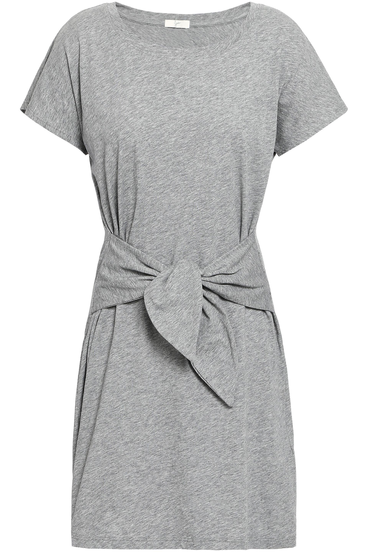 d2ec6522e2 Lyst - Joie Woman Tie-front Mélange Cotton-jersey Mini Dress Light ...