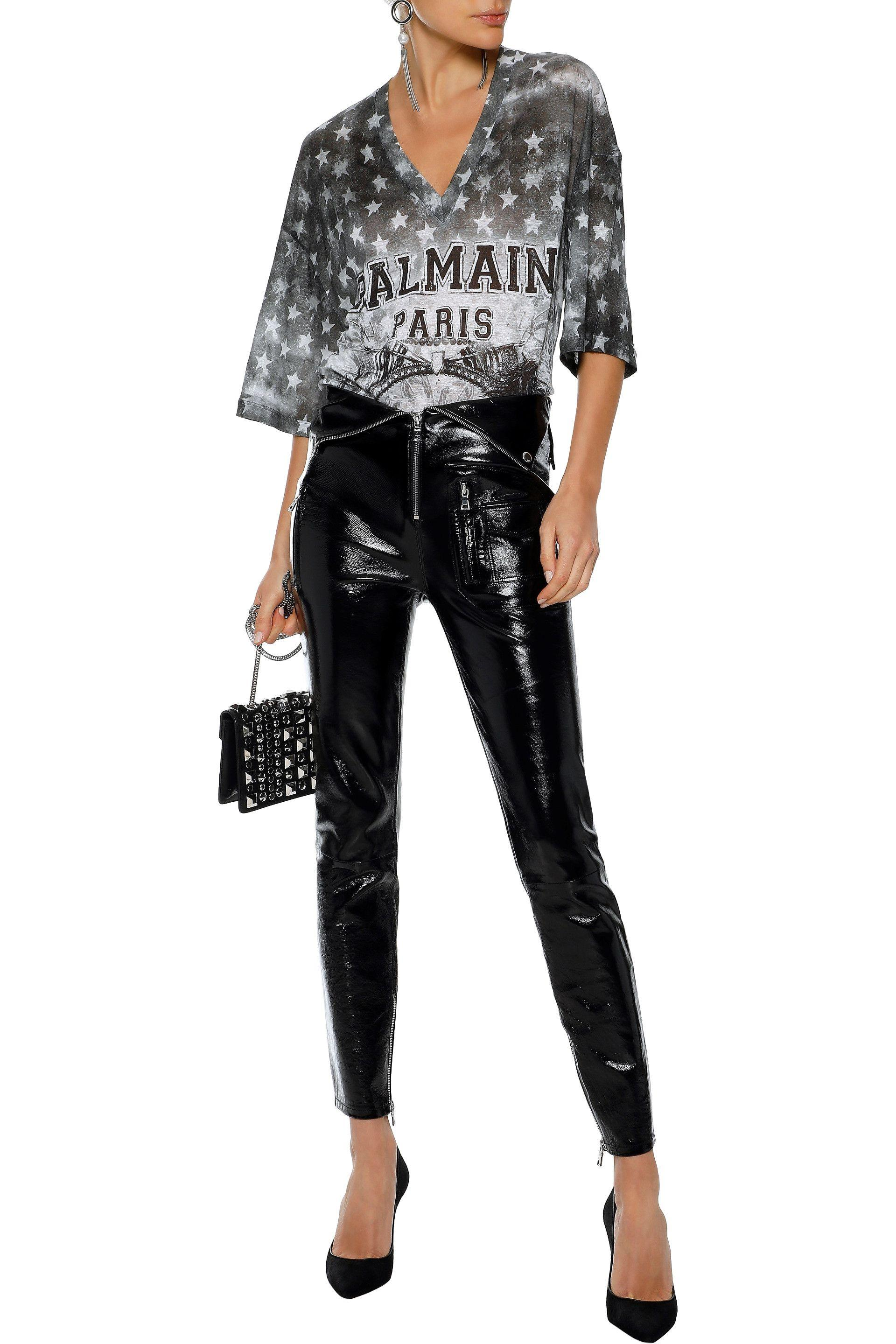 9bb6ac56 Lyst - Balmain Woman Oversized Distressed Printed Linen-jersey T ...
