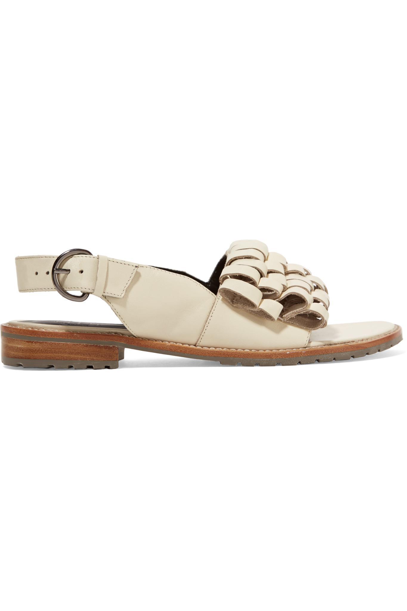 tibi Ecru Leather Sandals XAD4fz5s38