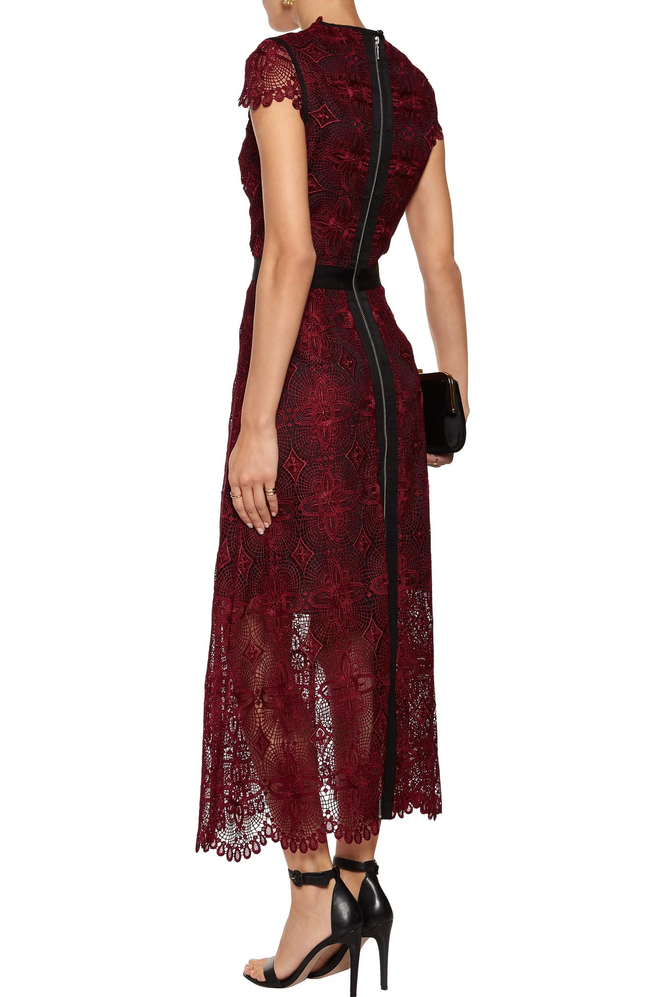Lyst Catherine Deane Garland Guipure Lace Midi Dress In Red