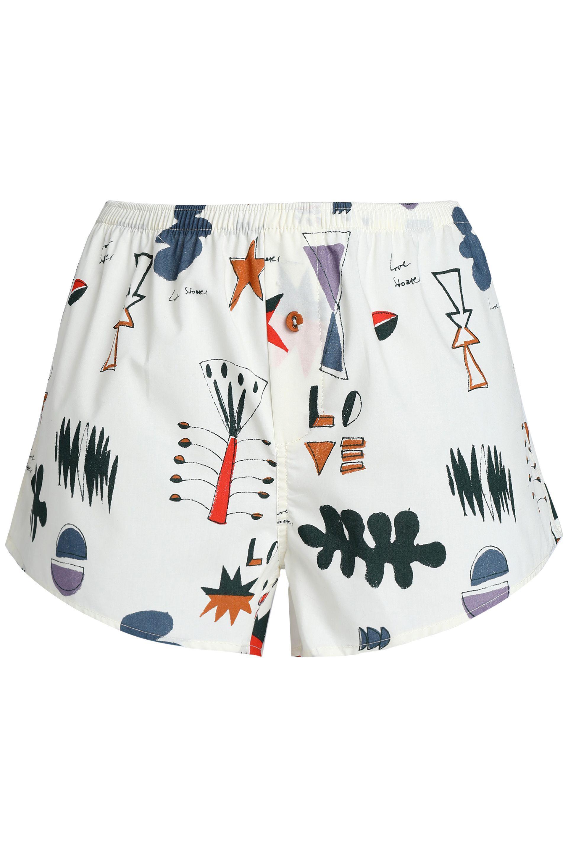 Love Stories Woman Printed Cotton-poplin Pajama Shorts Cream Size M Love Stories Buy Cheap Countdown Package vPkzzTK